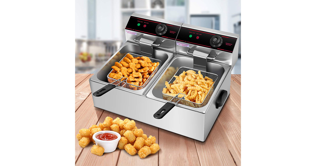 Safstar Professional Electric Stainless Steel Dual Tank Deep Fryer image