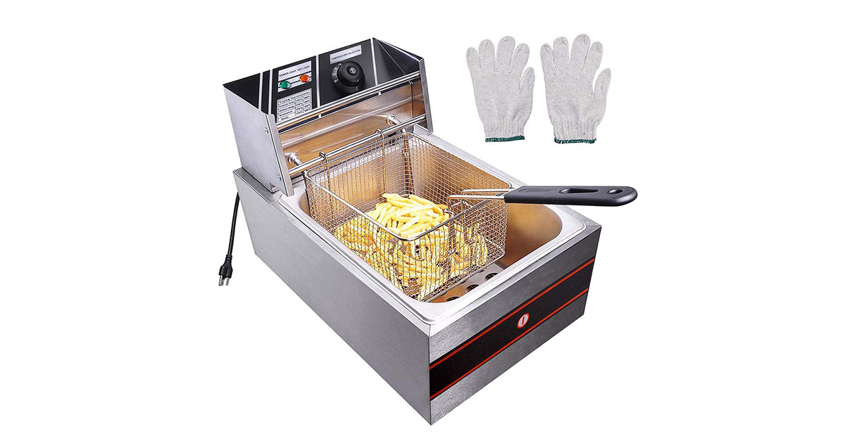 Yescom 2500W 6L Commercial Electric Countertop Stainless Steel Deep Fryer image