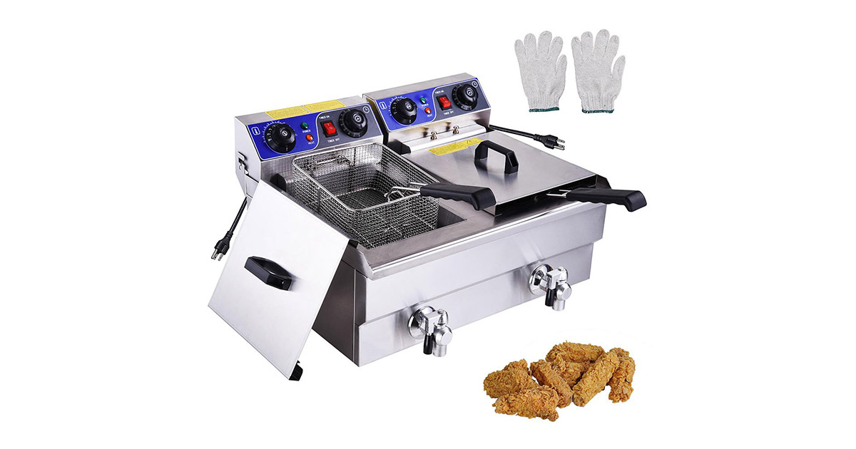 Yescom CHI-26FRY004-20LD-DT Commercial Electric Stainless Steel Deep Fryer image
