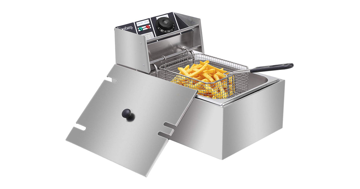 ZOKOP 6L Electric Countertop Stainless Steel French Deep Fryer image